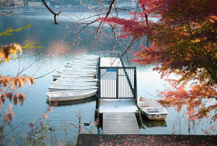 湖に止まっている釣りボートの写真