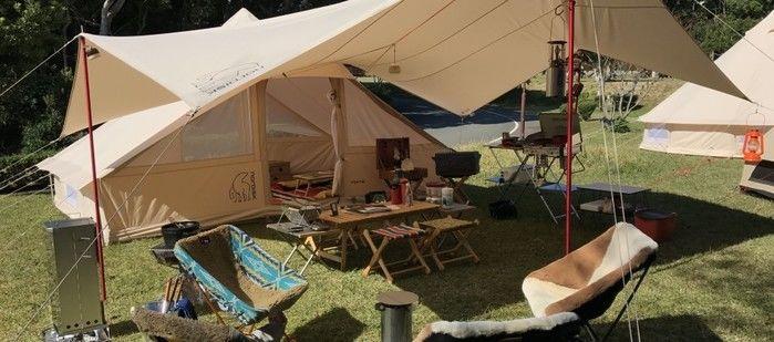 志摩オートキャンプ場のタープテントの写真