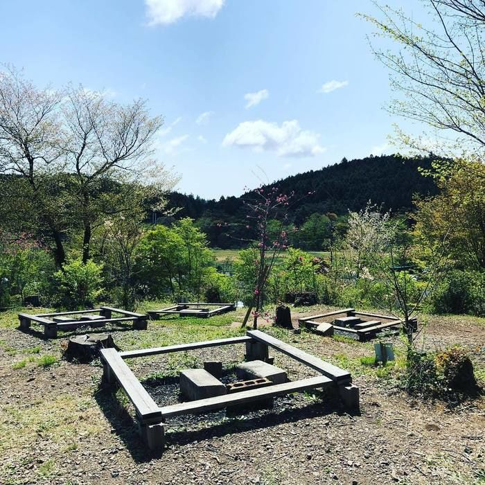 三原高原キャンプ村のバーベキューサイトの様子
