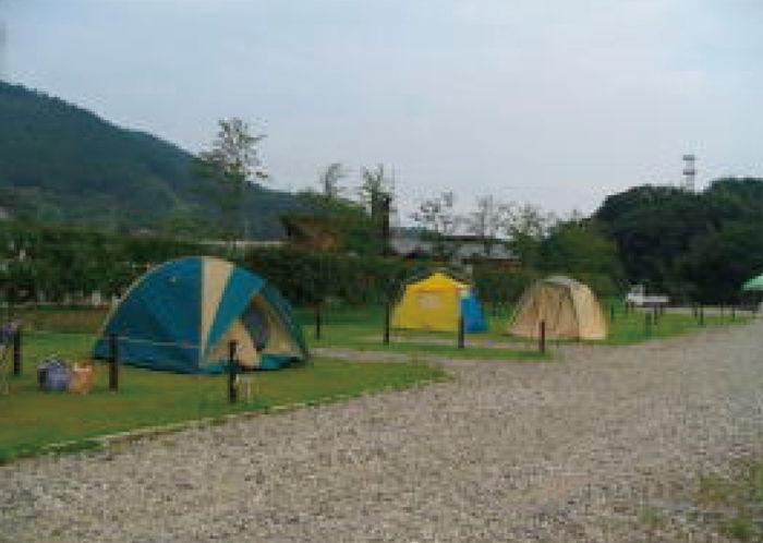 道の駅大和オートキャンプ場でのキャンプの様子