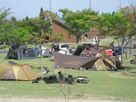 ひなもりオートキャンプ場でのキャンプの様子