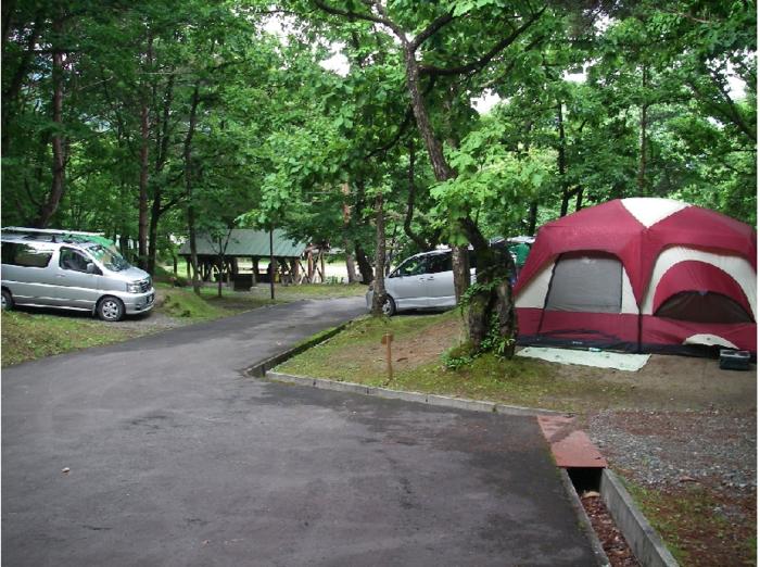 田沢湖キャンプ場のオートキャンサイトの写真