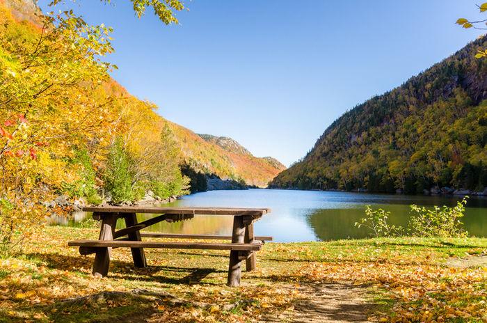 紅葉した山に流れる川の近くにあるベンチテーブルの写真