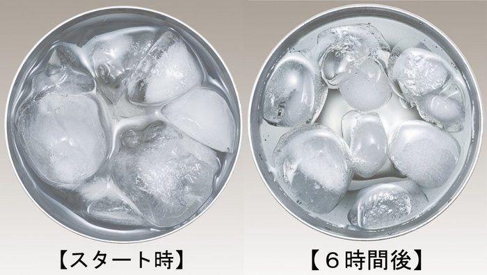 サーモスの真空断熱タンブラーの氷の様子