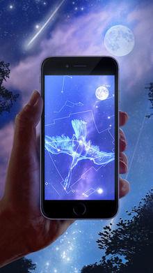 星座早見盤のアプリを利用する様子
