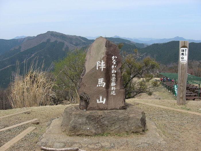 陣馬山の山頂の看板