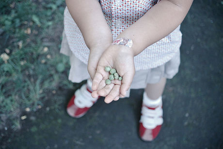 木の実を持った女の子の手