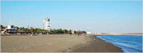 城南島海浜公園の浜辺の様子