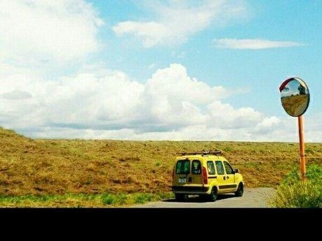 草原を走るルノー