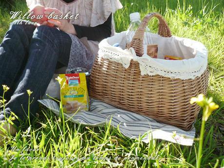 ピクニックのレジャーシート上に置かれたバスケット
