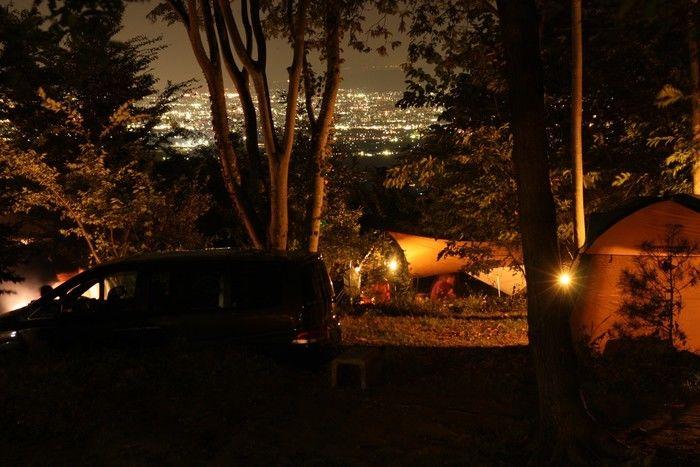 黒坂オートキャンプ場から見える夜景