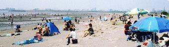 葛西臨海公園で海水浴をする人々