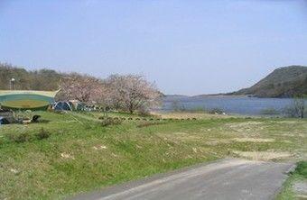 大自然と湖畔が目の前に広がる牛野ダムキャンプ場の様子