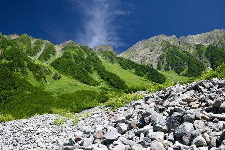岳沢、青と緑と白の景色