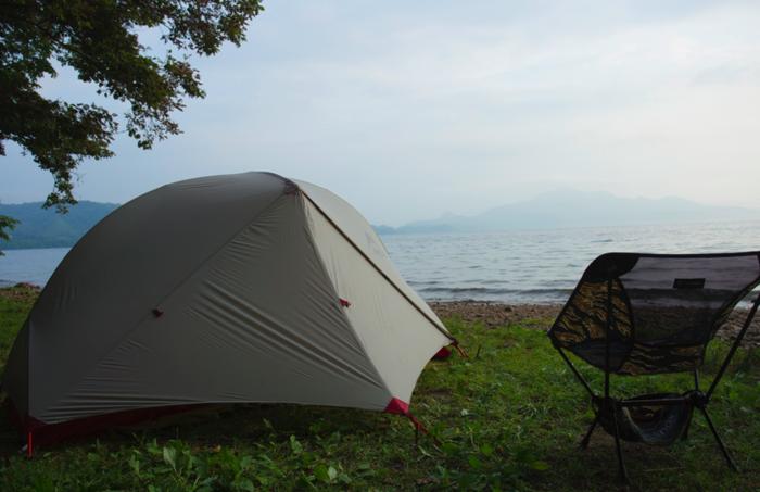 仲洞爺キャンプ場でのソロキャンプの様子
