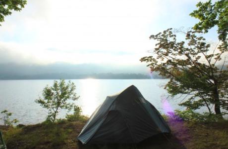 宇樽部キャンプ場のソロキャンプの様子