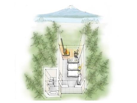 星野リゾートのグランピングの室内を表したイラスト