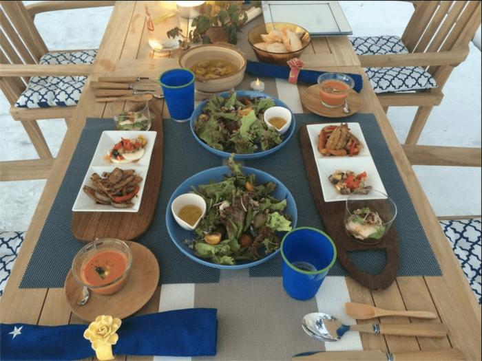 葉山のグランピングのディナー