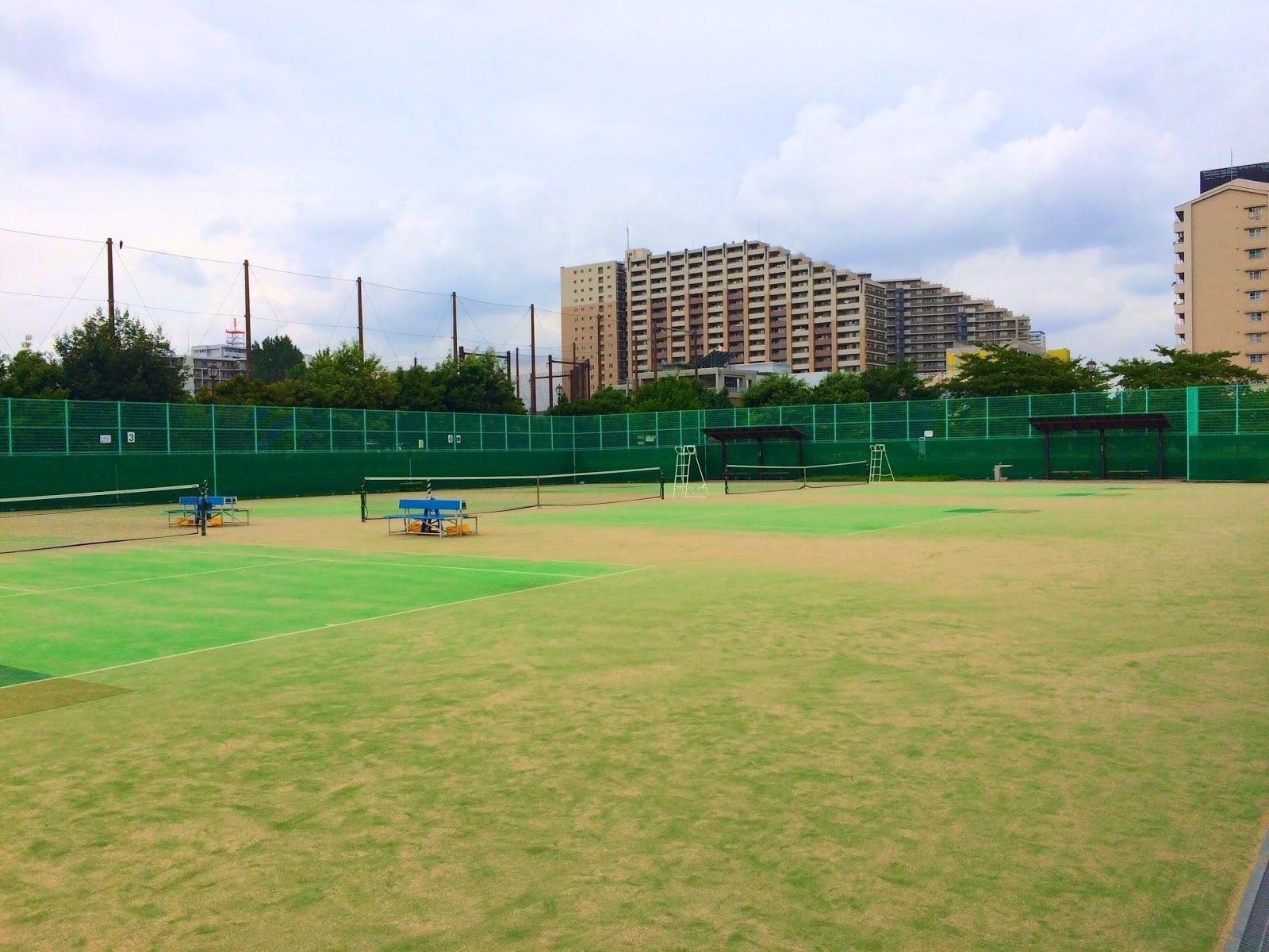 汐入公園,テニスコート,人工芝,画像,写真,