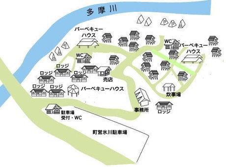 氷川キャンプ場のマップ