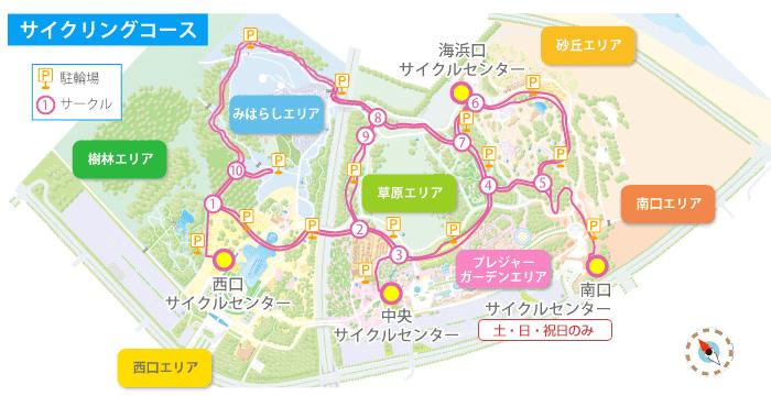 サイクリングコースのマップ