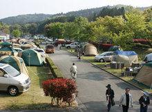 秋吉台オートキャンプ場のフリーサイトの様子