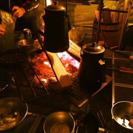 冬キャンプの焚き火の様子