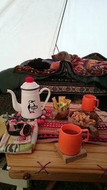 冬キャンプのテント内の様子