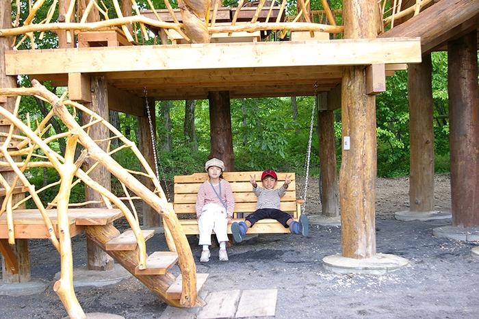 北軽井沢スウィートグラスのツリーハウスのブランコ