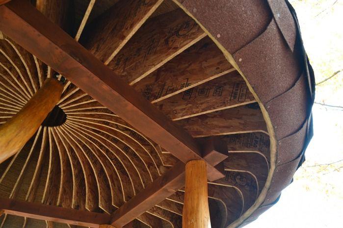北軽井沢スウィートグラスのツリーハウスの屋根の裏
