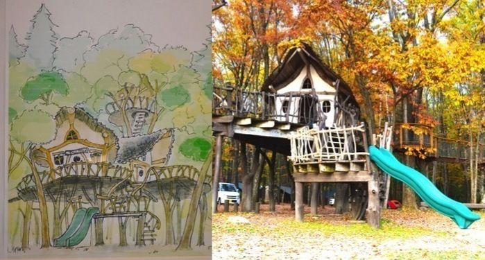 ツリーハウスのデッサンと北軽井沢スウィートグラスのツリーハウス