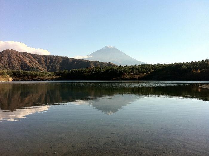 PICA富士西湖から見える湖と富士山