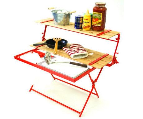 2WAY キッチンラック&テーブル ロースタイルをキッチンテーブルとして使った様子