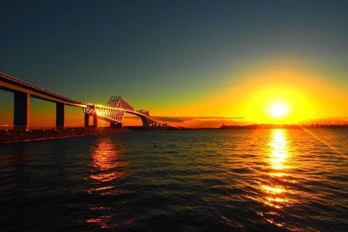 ゲートブリッジと夕日