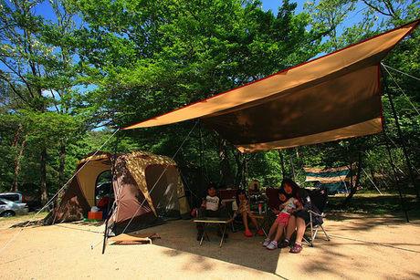 自然の森ファミリーオートキャンプ場でキャンプを楽しむ家族