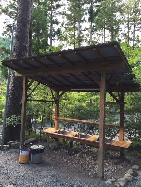 道志村とやのさわキャンプ場の炊事場