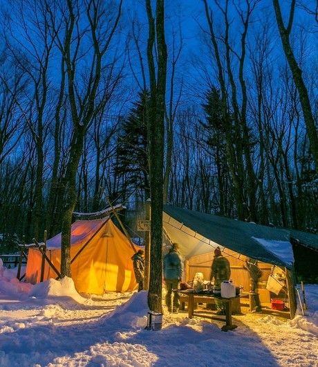 北軽井沢スウィートグラスの雪中キャンプの様子