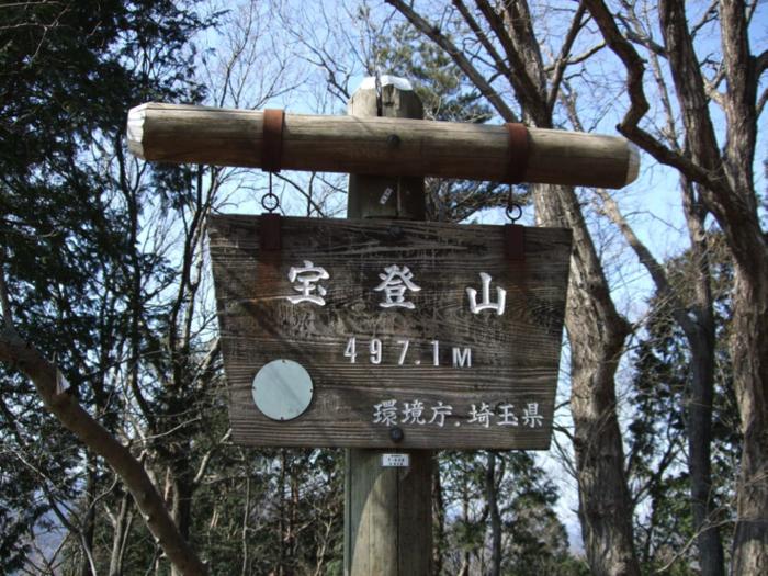 宝登山山頂の山頂標識