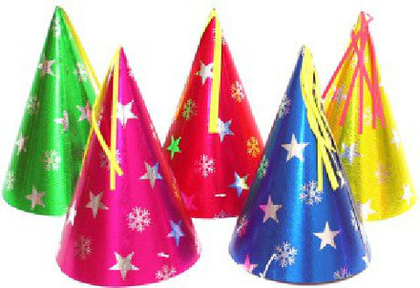 100均で売っているカラフルなパーティー用の三角帽子