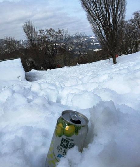 自然の雪で冷やされたお酒