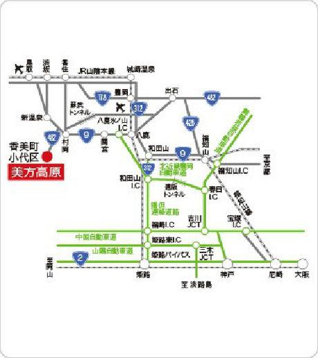 美方高原のアクセスマップ