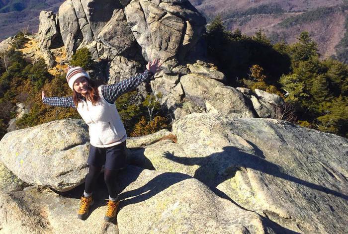 山頂での休憩の様子