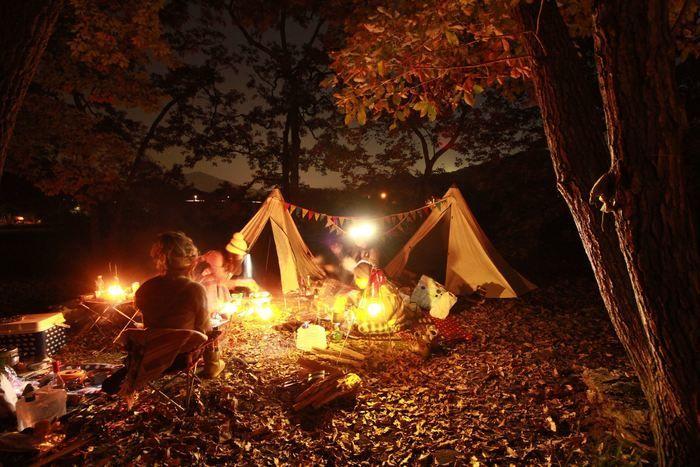 キャンプをしている女性たちの夜