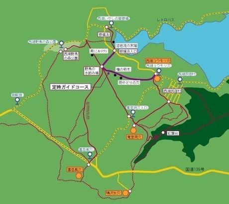 青木ヶ原樹海のハイキングコースマップ