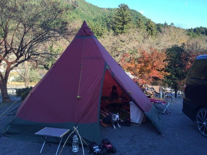 ケニーズファミリービレッジ内の一般サイトに張ったテント