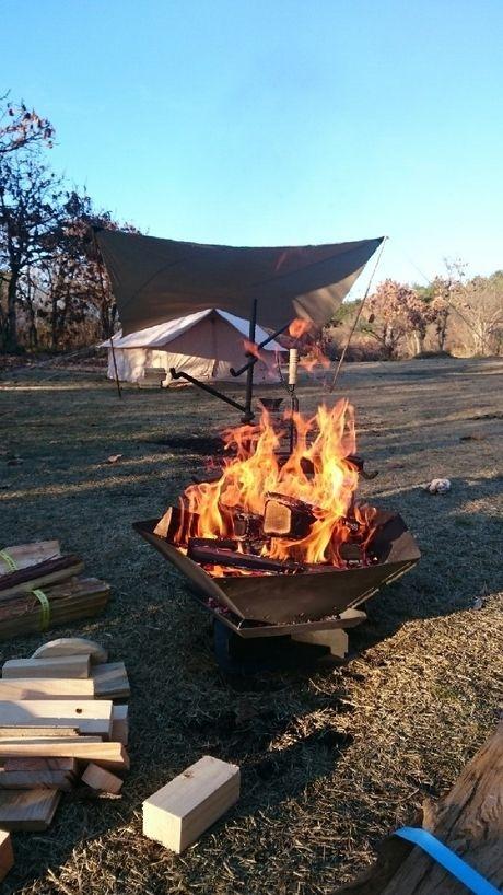 コットンテントと焚き火