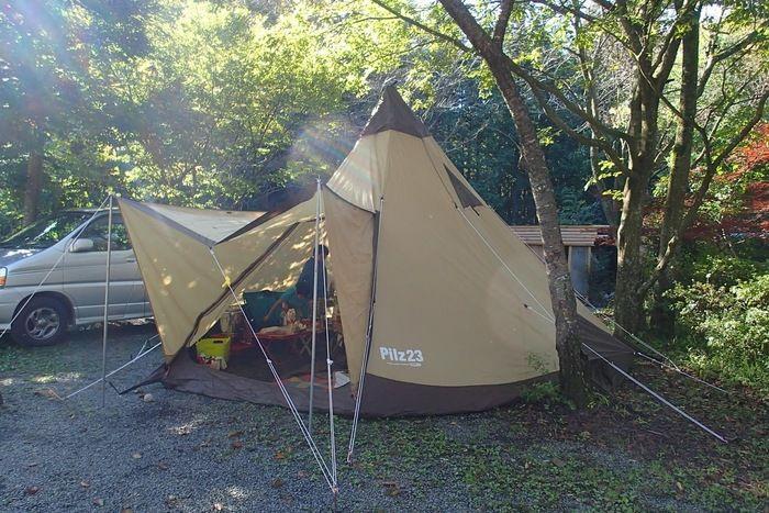 新富士オートキャンプ場に張られたテント