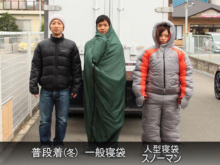 普段着、一般寝袋、人柄寝袋スノーマンの被験者たち