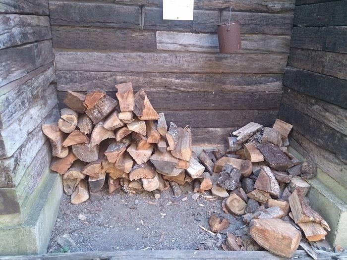 キャンピングヒルズ鴨川の薪置き場