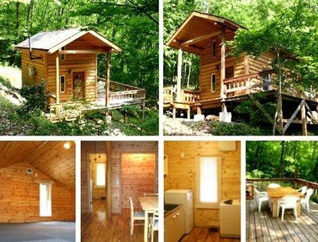エアコン、暖房施設完備のオールシーズン快適に過ごせる奥琵琶湖キャンプ場のバンガロー